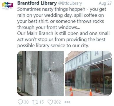 Brantford Library's twitter response to vandalism